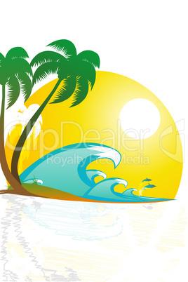 illustration of tropical landscape