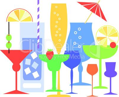 Colorful cocktails vector illustration