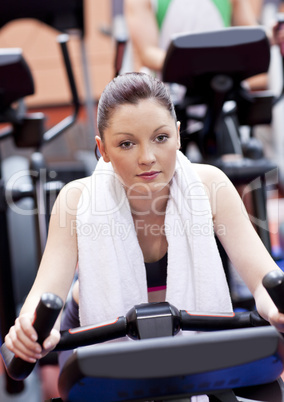 woman on a cross trainer