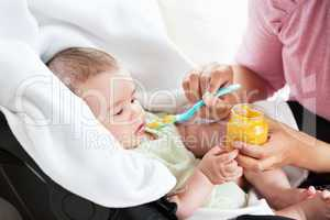 mother giving carrot puree to her baby
