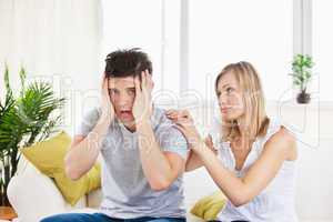 woman with her stressed boyfriend