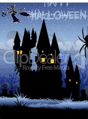 haunted house in halloween night