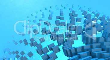 3D - Hintergrund - Fliegende Würfel Blau 06