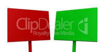 2x Blanko Schilder - Rot und Grün freigestellt