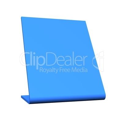 3D Blanko Tisch Schild - Blau freigestellt