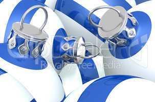 Blau Weiß gestreifte Weihnachtskugeln 01
