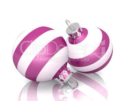 Christbaumkugeln Gestreift.Weihnachtskugeln 2x Pink Weiss Gestreift 02 Royalty Free