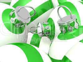 Grün Weiß gestreifte Weihnachtskugeln 01