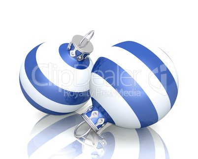 Christbaumkugeln Gestreift.Two Blue With Silver Ball Point Pen Isolated On White
