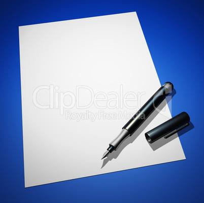 Blanko Brief mit Füllfederhalter auf Blau 01