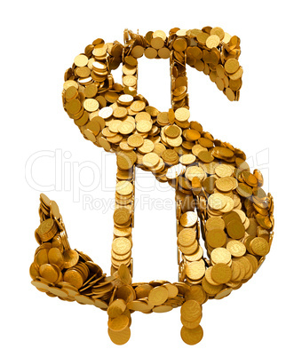 US Dollar symbol assembled with coins