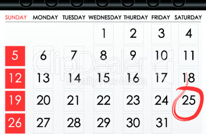 calender with date mark as reminder