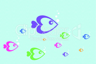 colorful vector fishes floating in water