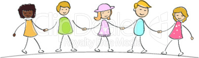 multi racial kids holding hands