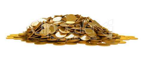Heap of golden coins isolated