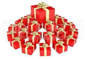 Cone shaped heap of red gift boxes