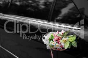 Door of black wedding car