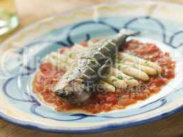 Grilled Sardines with White Asparagus and Roasted Red Pepper Sal