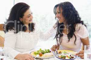 Two women enjoying a meal together