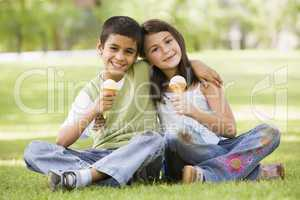 young happy children with icecream