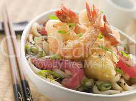 Bowl of Tempura Tiger Prawn and Udon Noodle Broth with Yellow Fin tuna