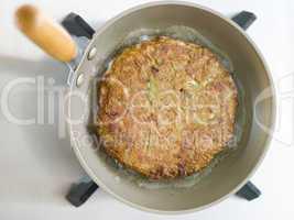 Savoury Pancake Cooking in a Japanese Frying Pan