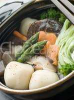Fish Ball Stew Pot with Vegetables and Spinach Noodles