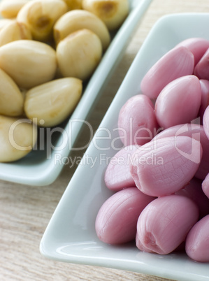 Dishes of Pickled Garlic
