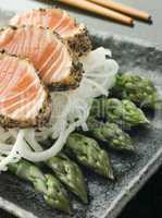 Seared Salmon Sashimi Black Pepper with a Mouli and Asparagus Salad