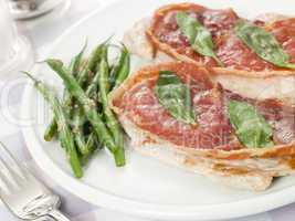 Escalope of Veal Saltimbocca with Green Beans