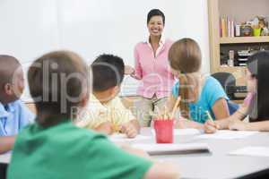 Elementary school classroom with teacher