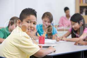 Elementary school pupil in classroom