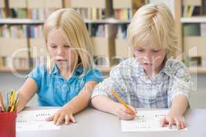 Kindergarten children learning to write