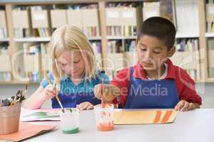 Kindergarten children painting