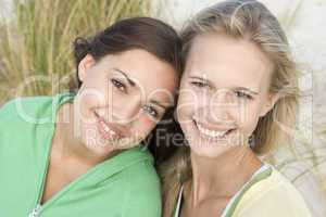 Two female friends at beach