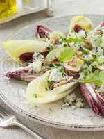 Salad of Chicory Walnuts and Apple with Roquefort Vinaigrette