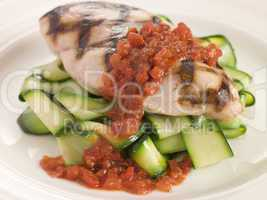 Chargrilled Chicken Breast with Courgette Ribbons and Tomato Con