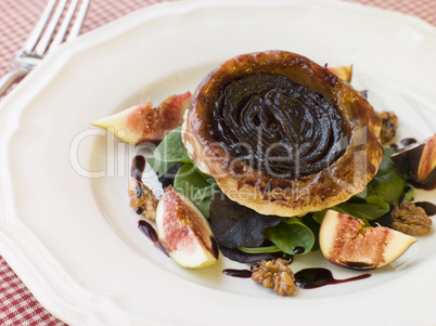 Red Onion Tarte Tatin with Walnuts Figs and Red Wine Syrup
