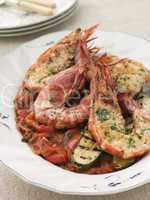 Grilled Tiger Prawns on Piperade with Grilled Courgettes