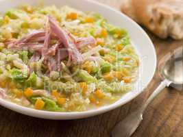 Cabbage and Bacon Soup with Rustic Bread