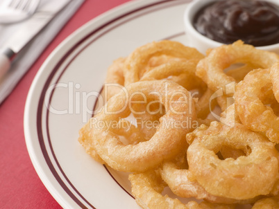 Battered Onion Rings worth Barbeque Sauce