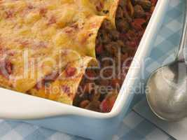 Dish of Beef Enchiladas