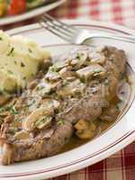 Steak Sirloin with Diane Sauce and Mash Potato