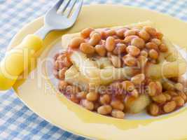 Potato Waffles with Baked Beans