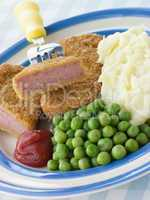 Breadcrumbed Luncheon Meat with Mashed Potato Peas and Tomato Ke