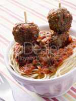 Spaghetti with Meatball Sticks and Spicy Tomato Sauce