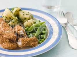 Chicken Goujons with Herb Buttered New Potatoes and Green Vegeta