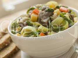 Bowl of Irish Stew with Soda Bread