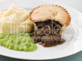 Steak Pie and Mash with Mushy Peas