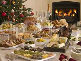 Boxing Day Buffet Lunch Christmas Tree and Log Fire